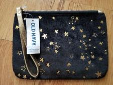 OLD NAVY Black Velvet Wristlet/ Wallet Gold Stars and Moon Prints