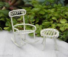 Miniature Dollhouse FAIRY GARDEN ~ TINY Micro Mini Cream Rocking Chair & Table