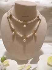 Formal White Freshwater Pearl necklace Swarvoski elements Bridal Wedding