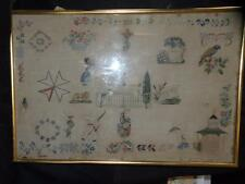 "Antique Spot Sampler 21.50"" X 14"" With Flowers Birds Pagoda soldier"