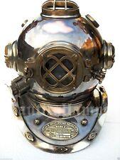 Antique U.S Navy Brass Divers Diving Helmet Mark V FULL SIZE Deep sea Scuba gif