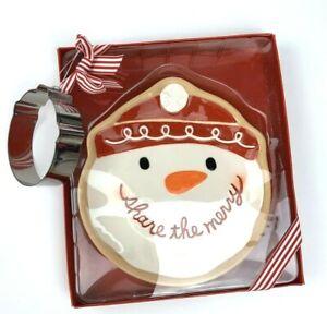 Hallmark Snowman Ceramic Plate Candy Dish Tray w/ cookie cut Christmas Holidays