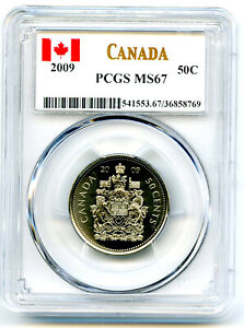 2009 CANADA 50 CENT HALF DOLLAR PCGS MS67... SUPER RARE...CANADIAN LABEL !!