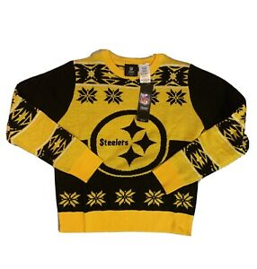 NFL Team Apparel Pittsburgh Steelers Ugly Christmas Sweater Youth Size M 10/12