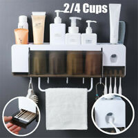2/4 Cups Automatic Toothpaste Dispenser Wall-mounted Toothbrush Holder Rack !