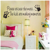 Please Excuse The Mess Kids Making Memories Wall Decor Art Sticker Decal Sayings