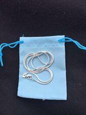 """1 mm Serpiente Cadena Collar de plata esterlina 925 Estampado Con Bolsa De Regalo Azul Cielo 20"""""""
