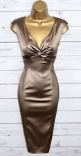 Stunning COAST Mink Satin Wiggle Pencil Cocktail Dress UK 14  Wedding Occasion