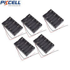 5pcs 1.5V AA-6 Battery Holder Case Storage Box Spring Plastic with Two Leads