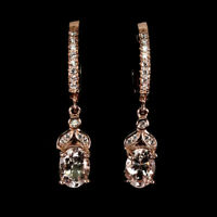 TOP MORGANITE EARRINGS : Natürliche Hell Rosa Morganit Ohrringe Silber E179