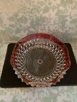 Indiana Glass CLEAR GLASS WITH PINK Scalloped RIM Candy Dish