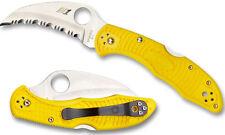 SPYDERCO Tasman Salt 2 Serr 100% Rustproof H-1 Blade, Yellow FRN Handle C106SYL2