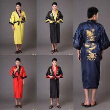 gold/black Double-face Chinese silk/satin Men's Kimono Robe Gown bathrobe S-3XL