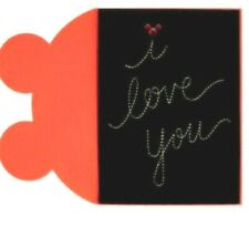 """Papyrus Birthday card -Mickie Minnie Mouse """"I love you"""" sew gold on black velvet"""
