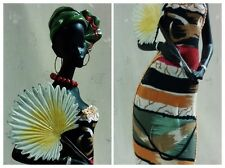 """NWT Statue of Lovely African Woman, Colorful Striped Dress+Fan & Jewelry 14.50""""T"""