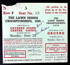 1959 WIMBLEDON CHAMPIONSHIP TICKET STUB SIGNED BY HALL OF FAMER VIC SEIXAS