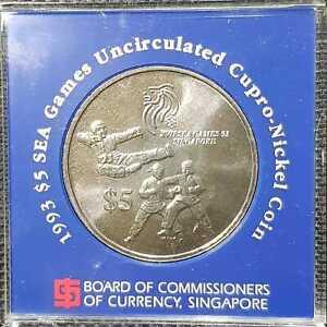 1993 Singapore 5 Dollars XVII SEA Games Commem'te coin,Ø38mm (+FREE1 coin)#16662