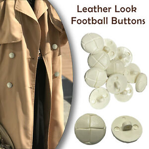 Plastic Football Shank Buttons Leather Look Sewing Knitting Crafting Projects