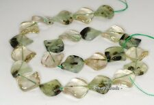 18MM  PREHNITE GEMSTONE TWIST DIAMOND LOOSE BEADS 7""