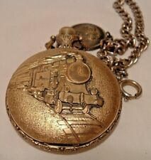 Railroad Design Pocket Watch With Fob Majestron Gold Tone Modern Quartz Train