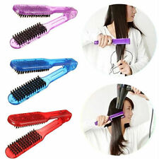 Salon Style Hairdressing Bristle Hair Straightening Brush Double Clamp Comb L PL