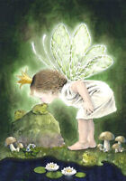 Handpainted Oil painting portraits lovely little angel girl & frog flowers ...
