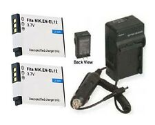 2 Batteries + Charger for Nikon S1000pj S1100pj S1200PJ S6000 S6100 S6200 S6300