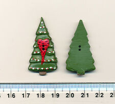 CHRISTMAS TREE w RED HEART BUTTON -40mm -2 holes - XMAS - Scrapbooking / sewing