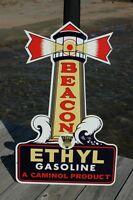 "OLD STYLE LG 28"" ESSO MOTOR OIL ETHYL BEACON STEEL DIECUT TK STEEL SIGN USA MADE"