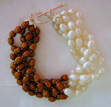 Chocolate & White Cultured Pearl Bracelet 5 Strands 7""