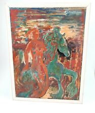 Vintage Oil Painting On Board Mermaid With Hippocampus