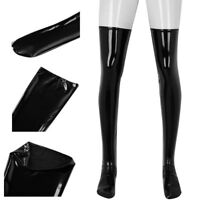 Men's PVC Leather Thigh High Footed Stockings Shiny Clubwear Costume Accessory