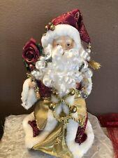 """Santa Claus Tree / Table Topper Deco. Porcilain Face & Hands 13 1/3"""""""