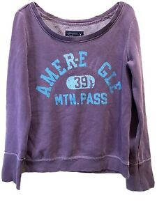AMERICAN EAGLE Women's 39 MTN. PASS Purple Size Small pullover distressed S VTG