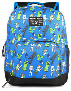 Minecraft Backpack For Boys Creeper Zombie Kids Blue School Rucksack