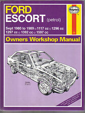 Ford Escort Petrol 1980-1989 Haynes Workshop Manual 1117 1296 1297 1392 & 1597cc