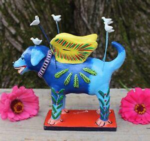 Angel Dog Wings and Doves Clay Handmade by Ortega Barro Betus Mexican Folk Art