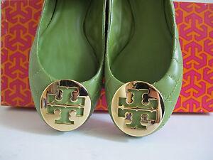 NIB Tory Burch Quinn Quilted Reva Ballerina Flat Green shoes sz 5