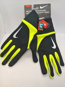 Nike Men's Element Thermal Run Gloves Unisex Large Black/Volt, NWT, Touch Screen