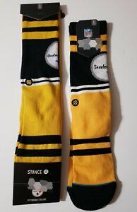 "Stance Socks NFL Pittsburgh ""Steelers Logo""(L 9-12)Football Yellow Black 2 pairs"