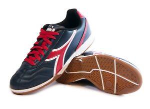 Diadora Men's Capitano ID Indoor Soccer Shoes (Navy / Red)