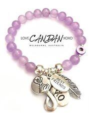 Evil Eye Best Friends Pinky Promise Angel Feather Infinity Charm Bracelet  Gift