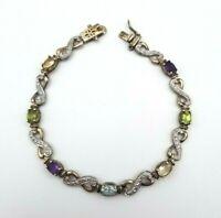 """Sterling Silver 925 Bracelet w/ Citrine Amethyst Peridot Blue Topaz 7 3/4"""" Long"""