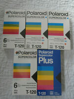 Lot of 5 Polaroid Supercolor Video Cassette Blank VHS Tapes T-120 (1) Super Plus