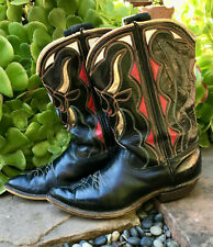 Vintage 1940-1950s Acme Inlay Pee Wee Rockabilly Western Shorty Cowboy Boots 6?