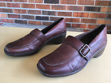 Clarks Loafers 84646 Wedge Heel Brown Leather Size 8 M Brazil              D6(5)