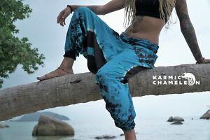 Harem Hippie Pants Tie Dye Blue Yoga Festival Loose Boho Festival Gypsy Aladdin