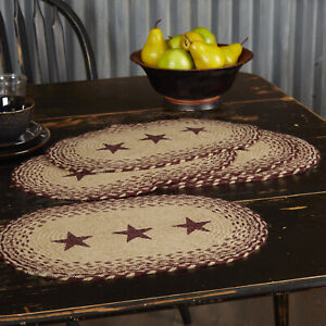 """VHC Brands Primitive 18""""x12"""" Star Placemat Set of 6 Red Tan Kitchen Table Decor"""