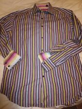 ROBERT GRAHAM LS Multi-Color Stripes Button Front Flip Cuffs Shirt Men's L