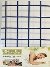 2 X BLUE STRIPE PILLOW CASES, HOUSEWIFE LUXURY 100% COTTON PAIR PACK BEDROOM